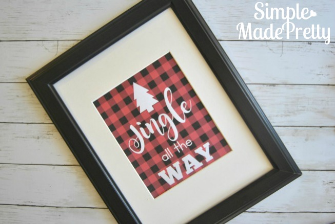 DIY buffalo plaid Christmas decorations, free printable Baby it's cold outside home decor print