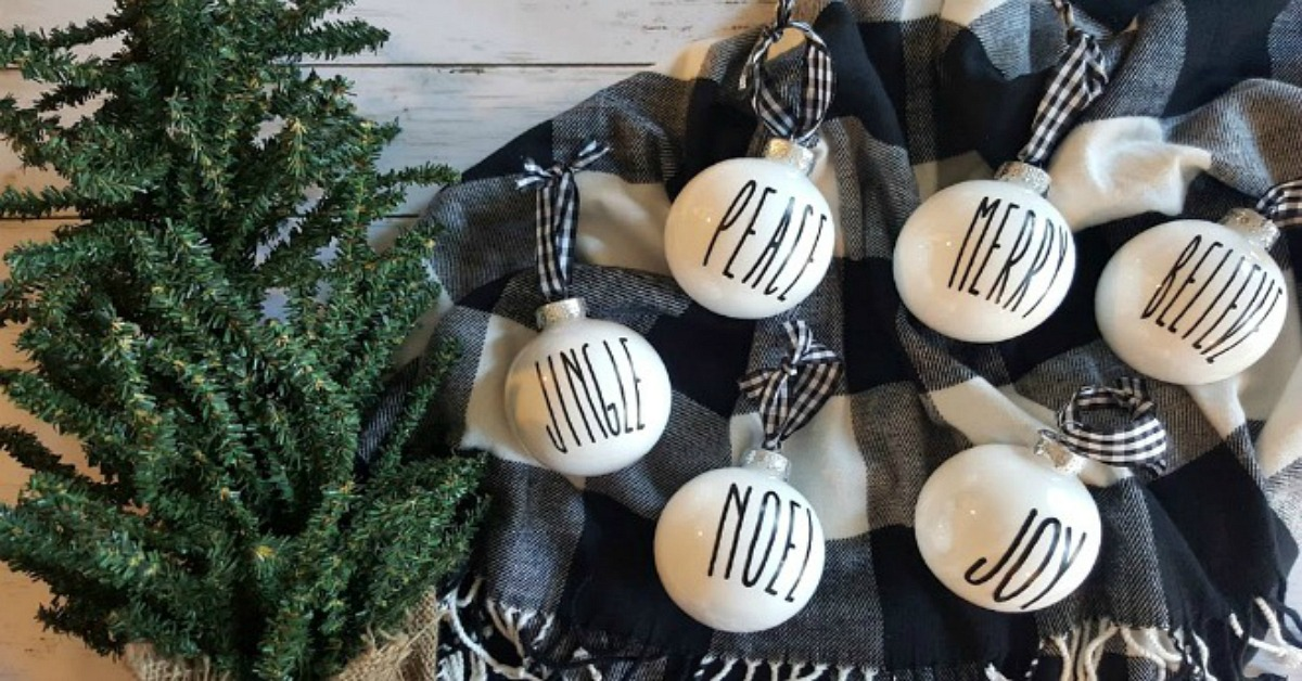 DIY Rae Dunn Inspired Christmas Ornaments - Simple Made Pretty