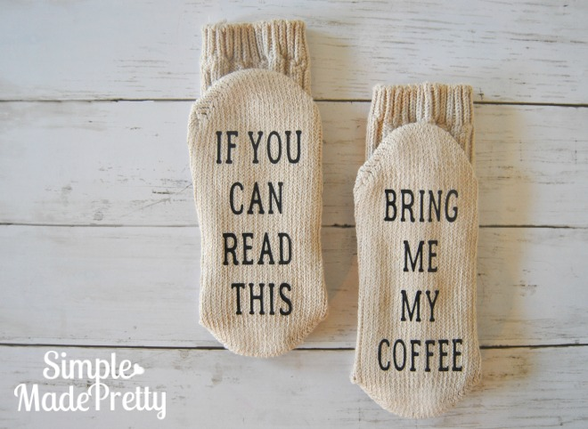 Make these DIY Bring me my coffee socks paired with Starbucks coffee as a fun holiday gift idea for coffee lovers!