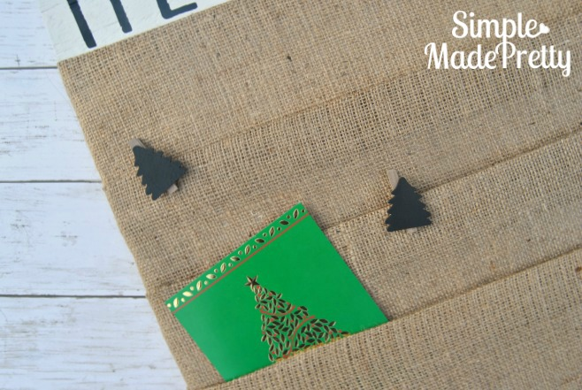 I love these little chalkboard tree clips from Target One Spot! She used them on this DIY Christmas card display holder made with burlap fabric and scrap wood. So cool!