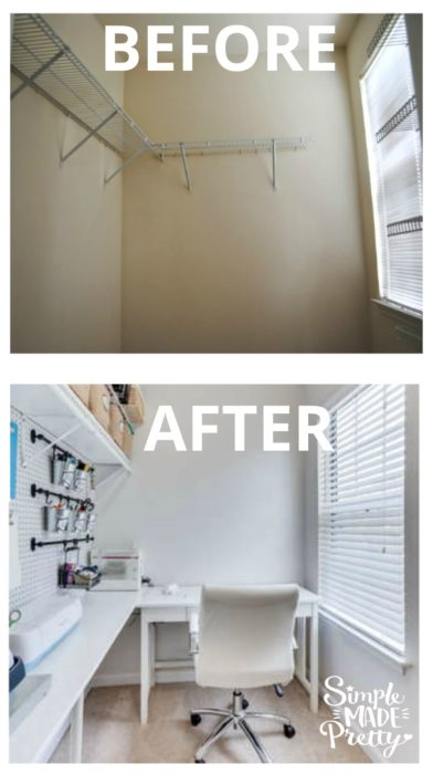 I love this craft room idea on a budget. She turned a closet into a craft room! I need to organize my craft room with bins and storage like she did. She added shelves and peg board on the wall in her closet turned craft room.