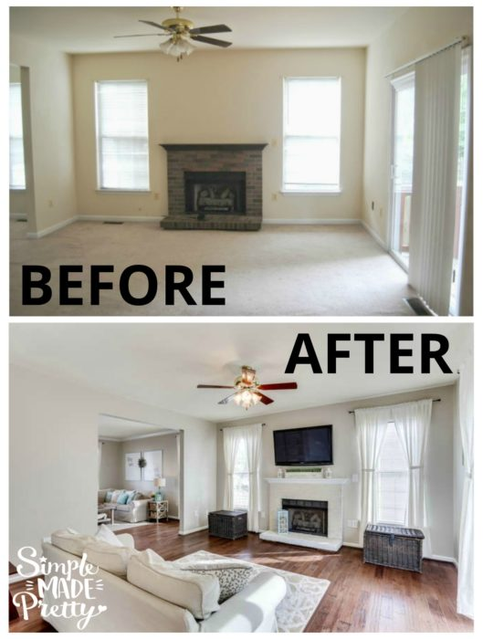 Whitewashing the fireplace makeover made a huge difference in this family room before and after picture. I love her family room ideas with fireplace and the paint colors used in her home. These wood floors are so pretty and complement the rest of the house decor.