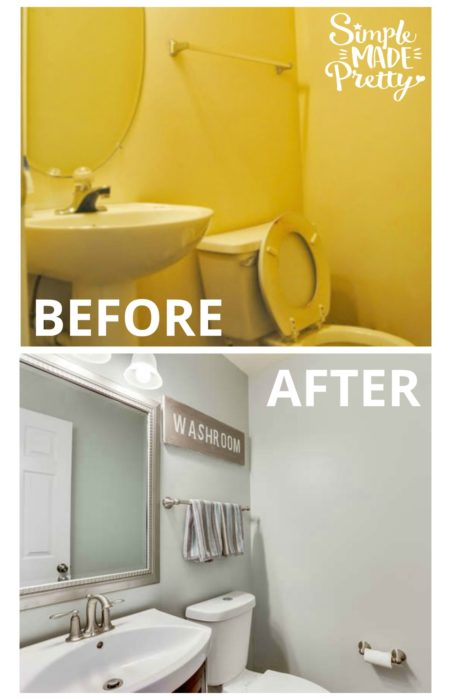 This half bathroom renovation was on a budget. The half bathroom was small and we needed storage ideas. The bathroom vanity is cute and the paint color Sherwin Williams Sea Salt is pretty. The farmhouse style art decor in the bathroom is fun. I love the before and after home renovation pictures in this post!