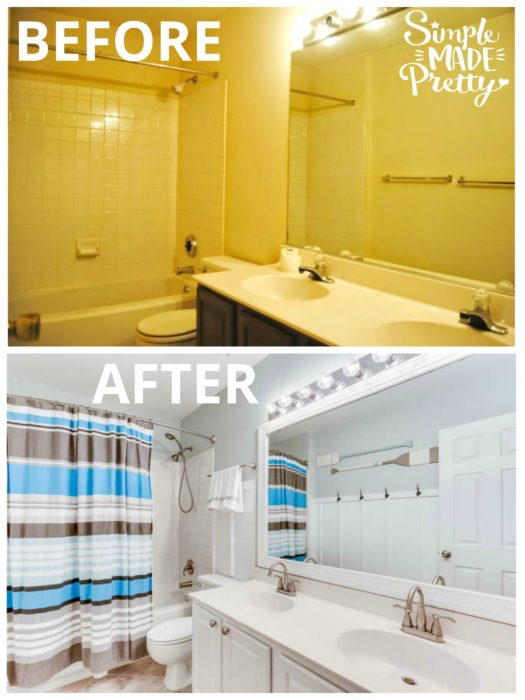This bathroom DIY before and after remodel was on a budget and almost everything needed replaced. We replaced the bathroom fixtures, faucet, hardware, tile floor, and painted the cabinets. The bathroom decor ideas colors is a beach theme with Sherwin Williams Sea Salt paint color, board and batten, and painted oars.