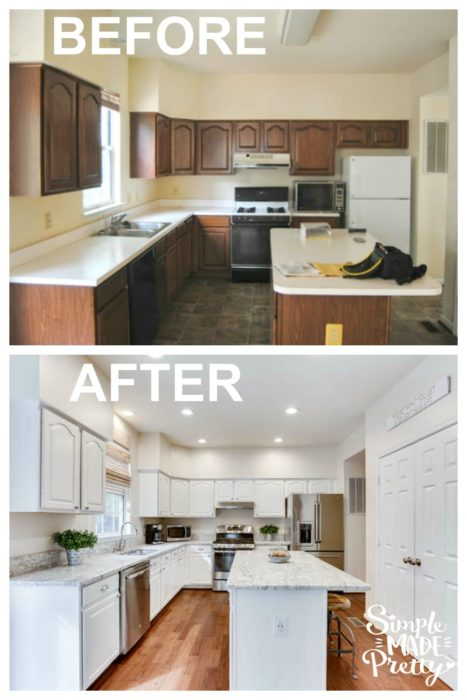I want to do this to our kitchen fixer upper home! I love white farmhouse style kitchens! I want to paint our kitchen cabinets white just like this kitchen island ideas with seating and white granite counters that look like marble. My dream home has white kitchen cabinets with granite and subway tile back-splash. This kitchen renovation before and after picture is so inspiring!