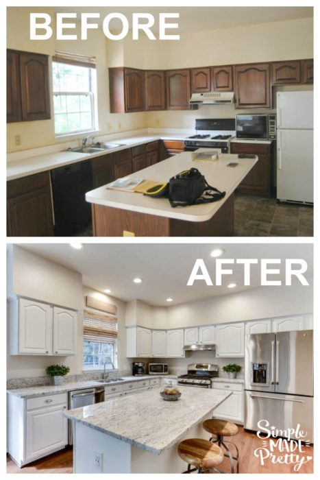 I love kitchen before and after pictures. This white farmhouse kitchen is my dream home and I would love to do what they did with out kitchen remodel on a budget. She explains how to update your kitchen without spending a lot of money. The kitchen granite counters look like marble but I want granite. I'm going to try painting my kitchen cabinets this silky white paint color too!