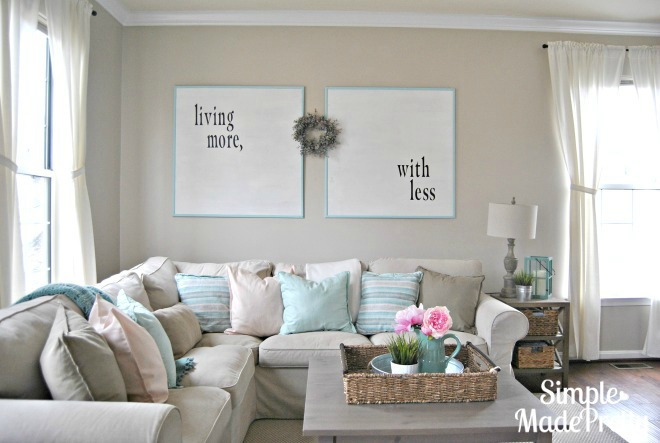Learn how to make over-sized DIY artwork to reduce clutter on your walls!