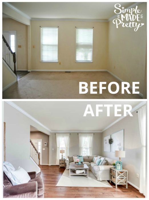 I love her living room paint color decor ideas with brown furniture and brown trim. I was looking for farmhouse style decor ideas and came across this post with these before and after fixer upper pictures. I love her home decor ideas on a budget!