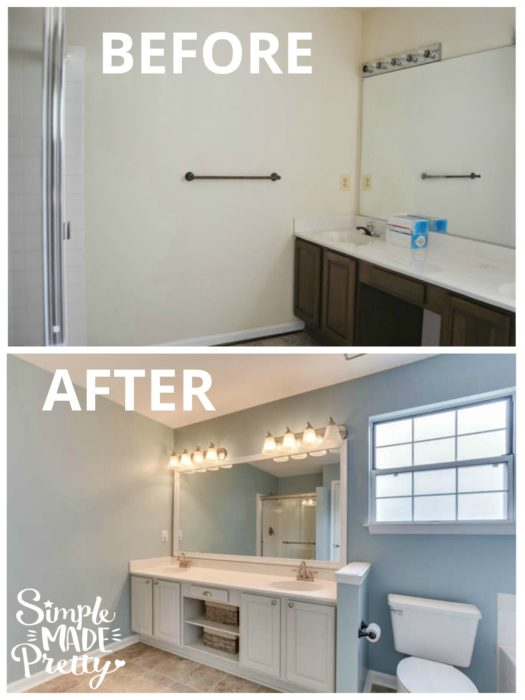 This master bathroom DIY home decor ideas on a budget shows you the before and after pictures of the builder grade bathroom renovation and remodel. The paint color is Sherwin Williams Rain with a beach theme farmhouse style home decor. I like how the shower door was only replaced to update the space on a budget. The cabinet paint color is repose gray and the floor tile is peel and stick tile. They framed the mirror with crown molding!