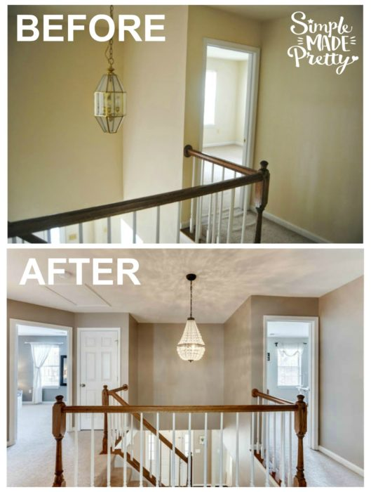 I love this Pottery Barn light fixture. It looks great in this stairway decoration renovation. The paint color is Sherwin Williams Perfect Greige and looks so pretty witht he other bedroom colors. I love the before and after pictures in this fixer-upper!
