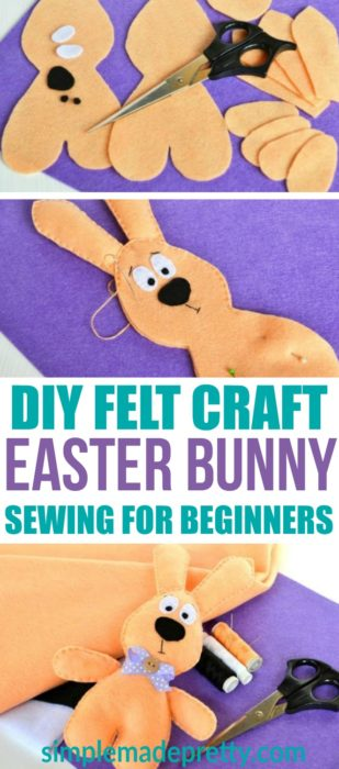 This DIY felt craft and sewing for beginners Easter bunny is so cute! I can't wait to try this fun easy kids felt craft idea (and for adults!) This bunny would make a cure Easter basket gift idea that's inexpensive to make!