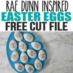 Make these easy Rae Dunn Easter eggs to display in your home decor. Add these DIY Rae Dunn Easter eggs to your collection of Farmhouse decor for Easter. This was a super cheap and easy project and includes the free Cricut or Silhouette cut file, SVG, PNG, DXF, EPS files so you can make these just in time for Easter basket ideas and Easter crafts.