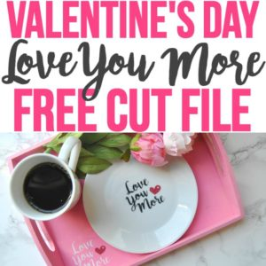 This free SVG file is a cute cut file for Valentine's Day, engagement, anniversary, honeymoon, and other romantic celebrations. Use a Cricut Explore or Silhouette cutting machine to make a fun DIY project and an easy 5-minute crafts idea. Personalize a serving tray, mug, plate, glass, t-shirts, bags, and so much more! The possibilities to use this free cut file for a cute DIY gift are endless!