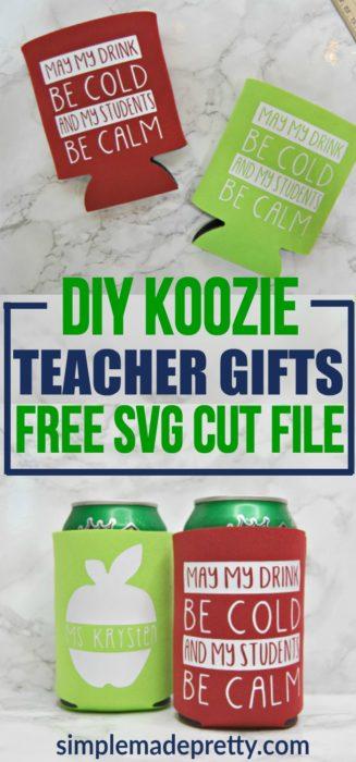 Diy Teacher Koozie Gift With Fee Svg Cut File 2020