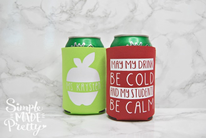 I love this DIY teacher coozy idea! She used a Cricut Explore to make these and gives a FREE SVG cut file! I'm going to make these for my kids teachers for the end of school gift and teacher appreciation gift ideas!