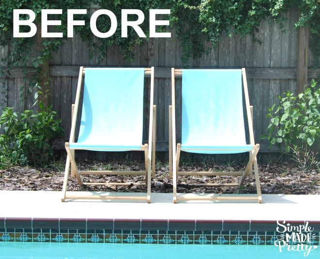 DIY beach pool lounge chairs before and after