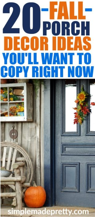 These fall porch decorations are easy to replicate and these fall outdoor decorating ideas will inspire you to decorate your front porch for fall! fall decor ideas diy dollar stores | fall decor ideas diy front doors | fall decor ideas diy autumn | fall decor ideas for the home | fall decor ideas for the porch | rustic fall decor ideas | rustic fall decor ideas for the porch | rustic fall decor ideas for the porch #falldecor #pumpkindecor #pumpkinspice #fallporchideas #fallfrontporch #fallporchdecor #fallporchideas