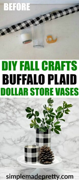 Learn how to make these DIY Dollar Store Crafts Buffalo Plaid Black and White using Dollar Tree Vases to instantly update your Fall decor. buffalo plaid baby shower ideas, dollar store Christmas crafts, buffalo check Fall decor, buffalo check Christmas decorations, buffalo check Christmas black and white, buffalo plaid decor black and white #5minutecrafts #dollarstorecrafts #buffaloplaiddecor