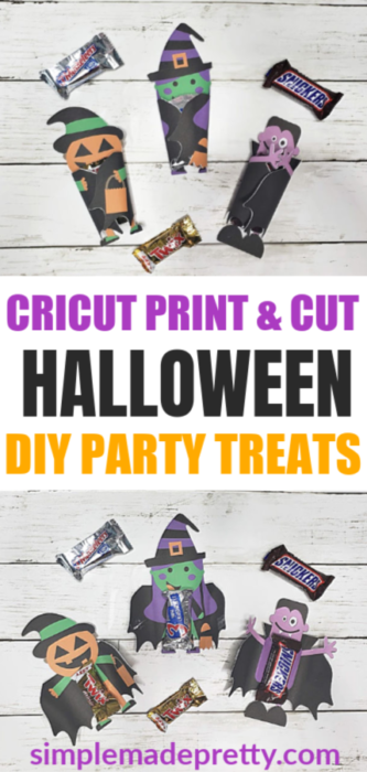 These Cricut Print Then Cut DIY Halloween Treats are the perfect favor for Halloween parties and more. Halloween treats for school parties, Halloween treats for kids, Halloween treat bags, Halloween treats for adults, Cricut Print and Cut, Cricut Print then Cut, Cricut print and cut projects, Cricut print and cut free printable, trick or treat bags diy ideas, trick or treat bags #halloweentreatideas