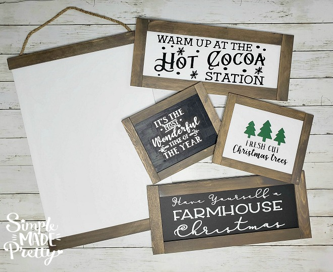You wouldn't believe these farmhouse signs are made using dollar store items! DIY Farmhouse decor dollar store, DIY Dollar Store Christmas Decor, DIY Dollar Store Crafts, Dollar store DIY decor, DIY Farmhouse sign, DIY farmhouse sign Cricut, DIY farmhouse sign tutorial, Farmhouse style signs, DIY Christmas decorations