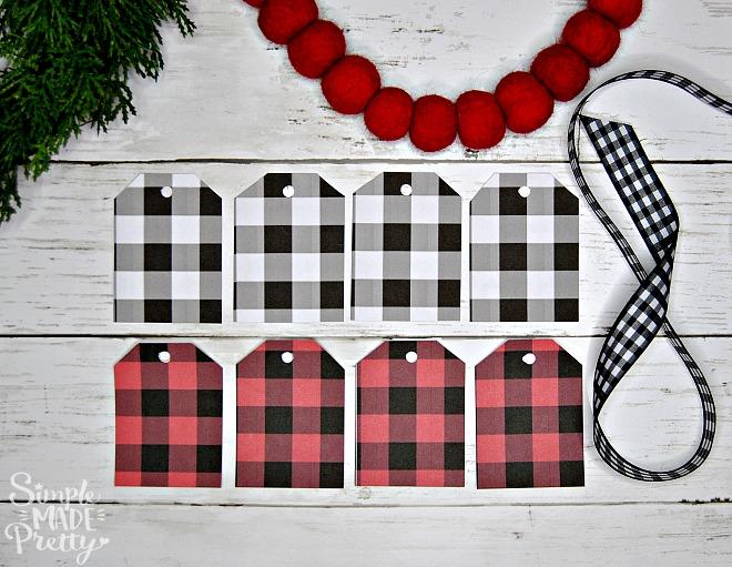 Free Printable Christmas gift tags, Black and white buffalo check, black and white buffalo plaid, Printable holiday gift tags