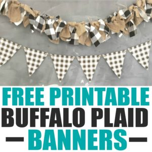 Download this free printable with the popular buffalo check pattern in 2 different color banners to spruce up your holiday decor. The black and white buffalo plaid banner is perfect for your Fall and Winter decor. The red and black buffalo check banner will look great with your Christmas decor.