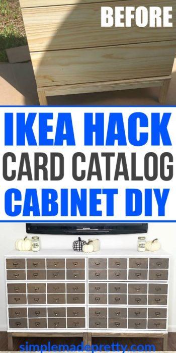 Ikea dresser hack, Cart Catalog Cabinet, Card Catalog, Library Card Catalog, Cards Catalog, Card Catalogs, Ikea hack dresser, Ikea hacks, Ikea dresser hack tarva, ikea dresser hack tarva wood stain, Ikea Dresser hack TVs, Ikea hack ideas, apartment therapy