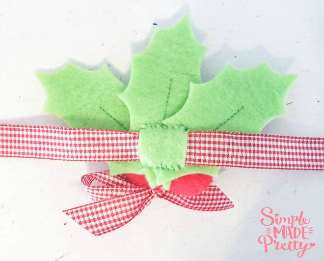 wearing the Felt Holly Leaves in my hair! Just wrap a longer ribbon through the loop in the back and you have a headband!