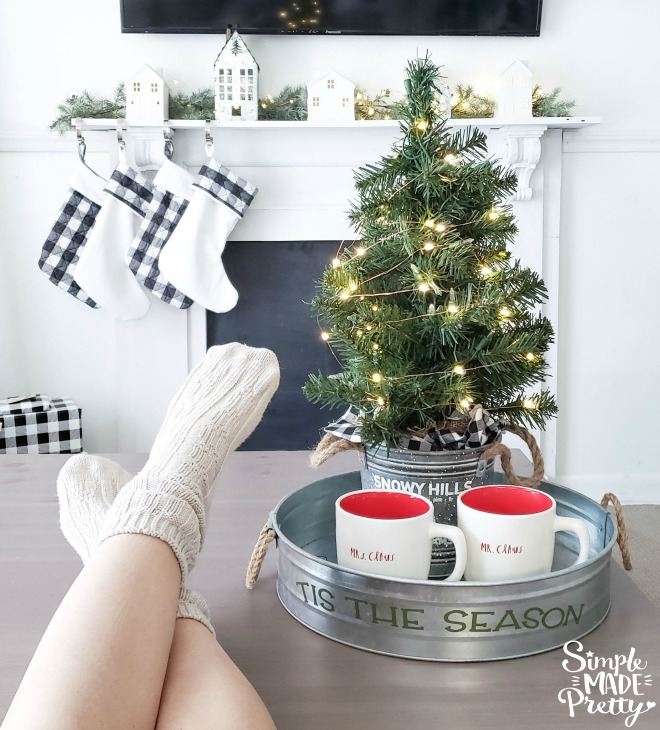 DIY Christmas décor ideas, Dollar Tree Christmas Décor, Farmhouse Christmas Decor, Buffalo Plaid Christmas Decor, Christmas fireplace decor, Christmas farmhouse decor, coastal Christmas decor, modern Christmas decor, buffalo check Christmas decor, turquoise Christmas decor, Christmas decor trends 2019, Dollar store Christmas decorations, Cricut Christmas, farmhouse Christmas Tree #farmhousechristmas #dollarstorechristmas
