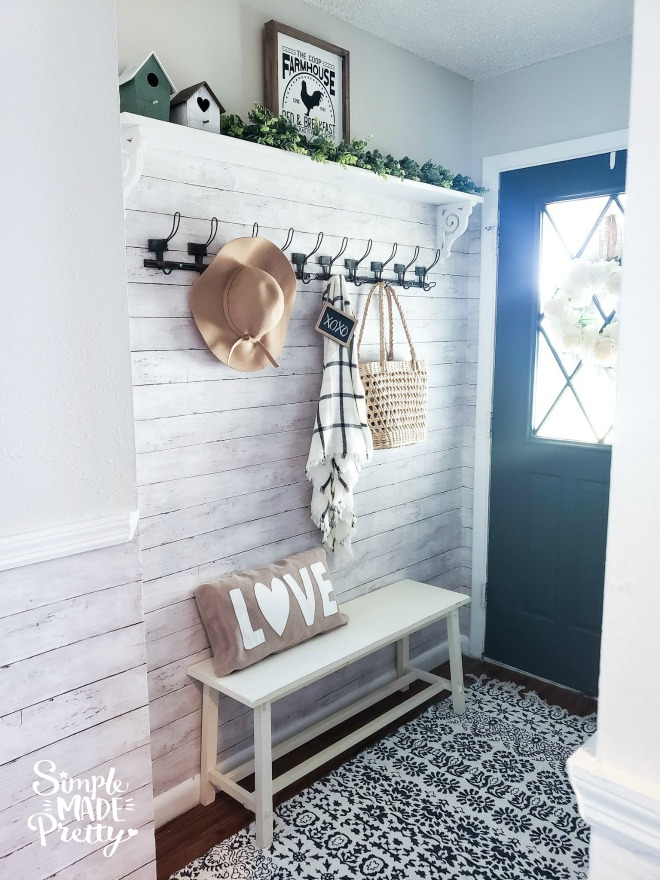 See how we updated our small entryway on a budget and check out the before and after pictures! Decorate A Small Entryway with Bench and Hooks, entryway door, entryway storage bench, storage benches, entryway ideas, entryway rugs, small entryway bench, entryway mirror, home entryway ideas, entryway table decor, entryway ideas with bench, entryway decor farmhouse, entryway decor with bench, entryway decor small entrance, entryway bench small decorating ideas #entrywaydecor