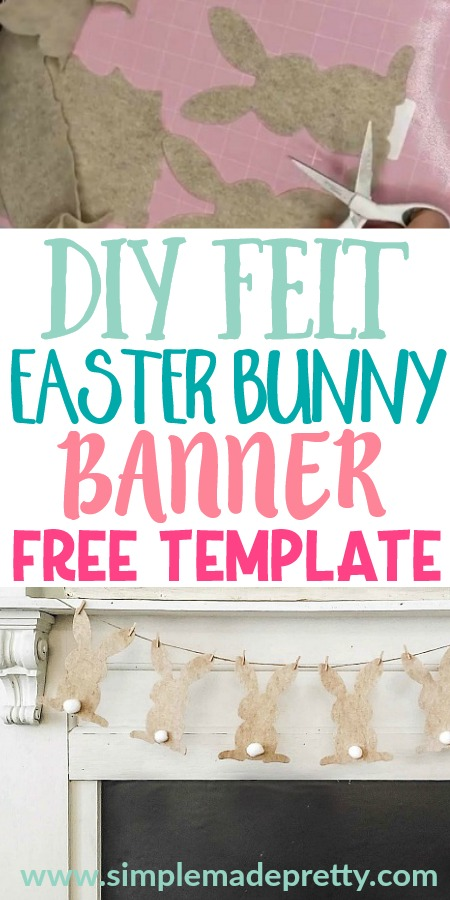 Easter bunny banner DIY, felt bunny, Easter bunny crafts, Easter Bunny SVG, Easter bunny printable, Easter bunny sewing, Easter bunny DIY, Easter bunny decor, Easter decorations, Easter decor, Dollar store Easter Decorations, farmhouse Easter decor, Easter mantle decor, do it yourself Easter decor, cute DIY Easter decorations, decorations for the home, felt Easter bunny pattern, fabric Easter Pillow, Cricut Easter projects, Cricut Pillow, DIY Easter pillow