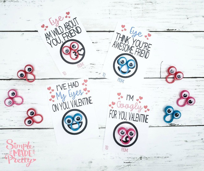 photograph regarding Printable Googly Eyes titled Googly Eye Ring Valentines Working day Playing cards Free of charge Printable