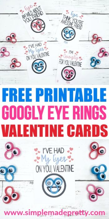 photograph regarding Printable Googly Eyes identified as Googly Eye Ring Valentines Working day Playing cards Totally free Printable
