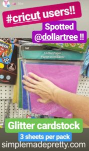 Dollar Tree Cricut cardstock