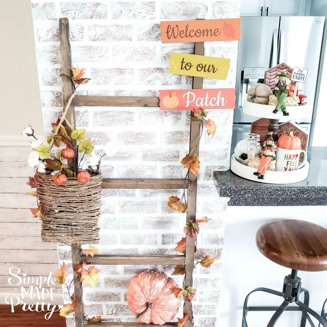 DIY Dollar Store Farmhouse Ladder, How To Make A Farmhouse Ladder, DIY Farmhouse Ladder, farmhouse ladder blanket, farmhouse ladder shelf, farmhouse ladder mudroom, farmhouse ladder ideas, farmhouse ladder on wall, farmhouse ladder living room, farmhouse ladder wire baskets, farmhouse ladder towel holders, farmhouse ladder DIY projects