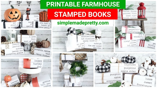stamped books DIY, stamped books spine, stamped books farmhouse, stamped book, farmhouse stamped book, how to make stamped book, DIY stamped book, stamped book spine, stamped book hand, stamped book decor, fall stamped book, Halloween stamped book, design stamped book, Christmas stamped book, stamped book cover, stamped book ideas, stamped book collection