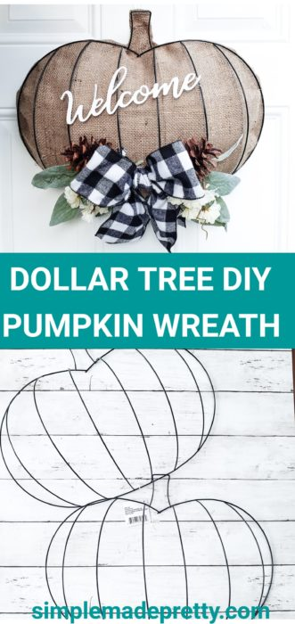 Burlap fabric crafts, burlap fabric DIY ideas, buffalo plaid decor, Dollar Tree Pumpkin Wreath Pumpkin wreath, Dollar Tree DIY, Dollar Tree Fall Decor, Dollar Tree Fall Decorations, DIY Dollar Store Fall Decor, DIY Dollar Store Crafts, Dollar store DIY decor, dollar tree DIY farmhouse, dollar tree DIY fall, dollar tree DIY pumpkins, Dollar Tree DIY #falldecor #falldecorDIY