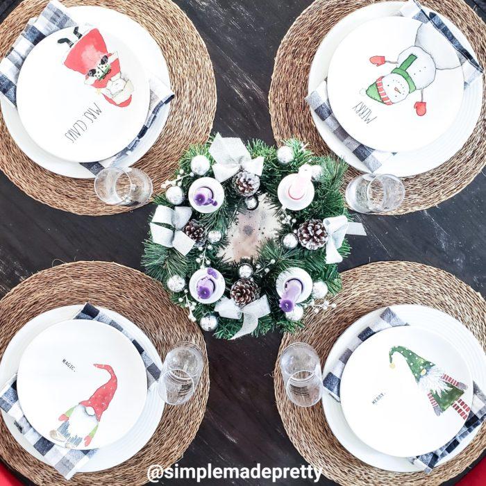 Christmas Dining Table Setting Small