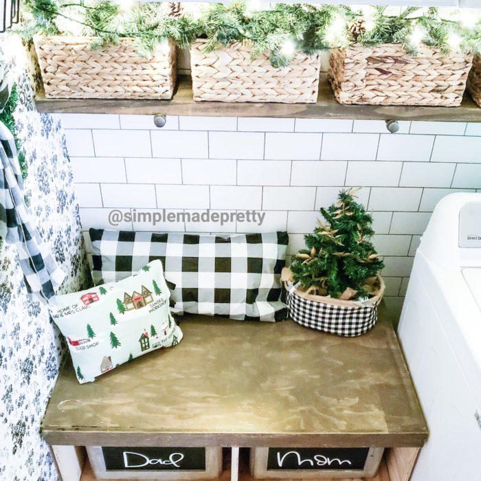 Mudroom Bench Christmas Decor
