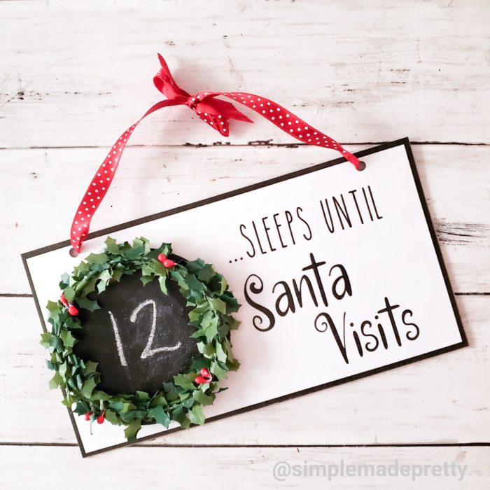 Sleeps till Santa visits Sign