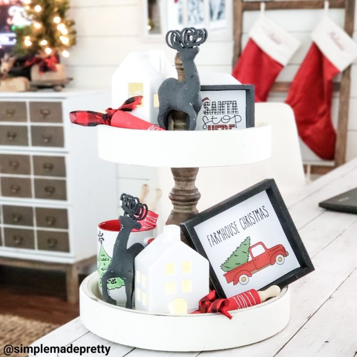 tiered tray decor for Christmas