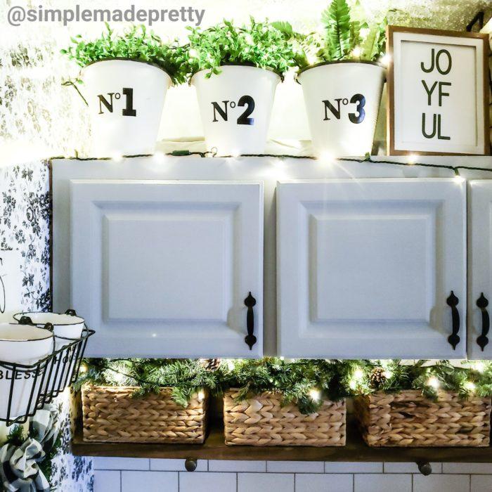 Christmas decor shelves cabinets