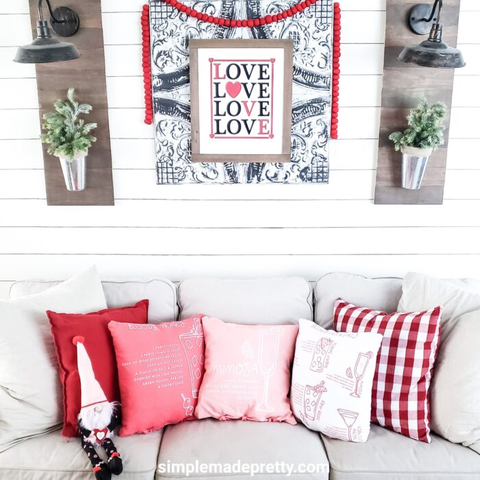 Dollar Store Pillow DIY Valentine Decor Easy