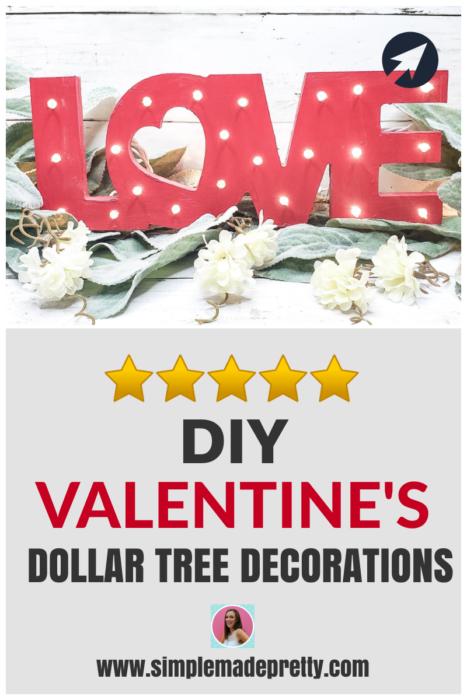 Valentine decor DIY from Dollar Tree