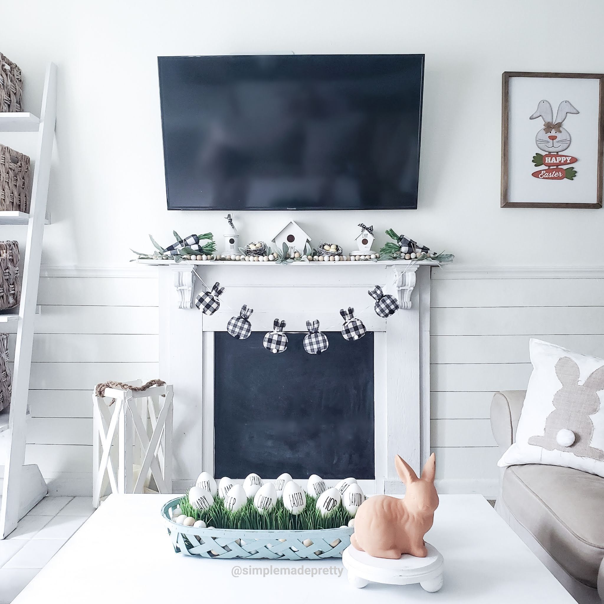 Easter Garland Fireplace Mantle