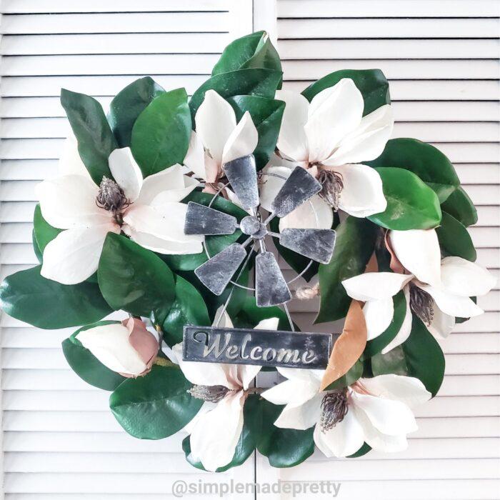 Magnolia wreath Dollar Tree Windmill