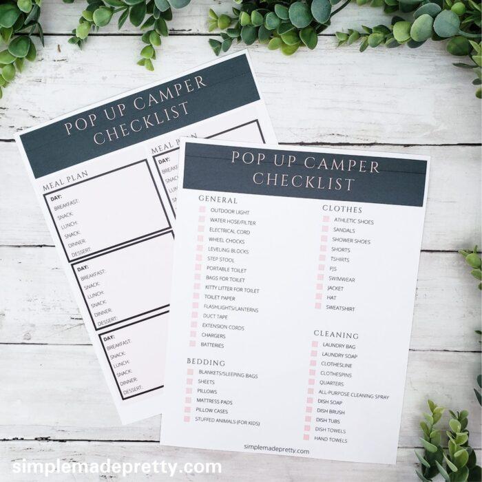 Pop Up Camper Checklist