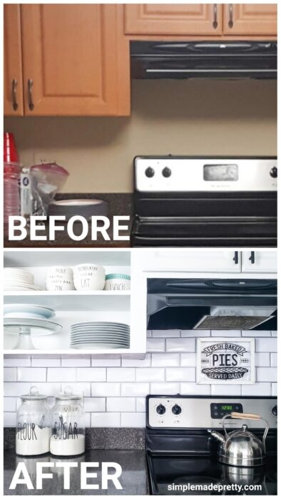 Before and After Dollar Tree Peel and Stick Tile