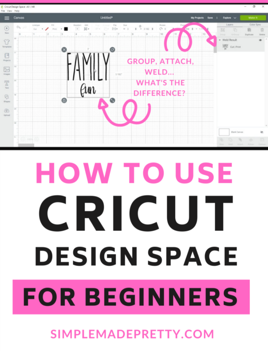 Cricut Design Space Group Attach Weld