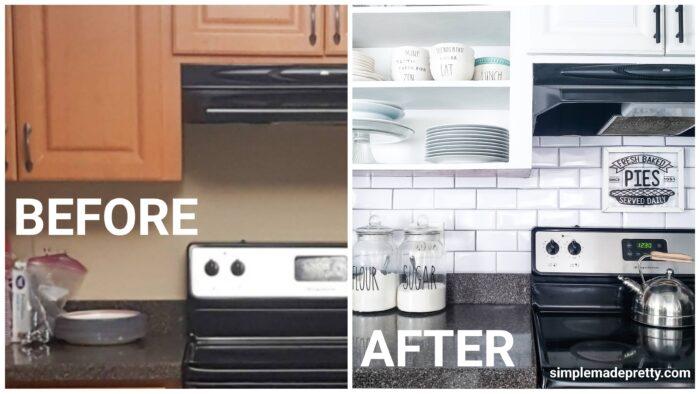 Dollar Tree Kitchen Backsplash before and after